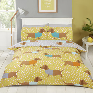 DOLLY DACHSHUND Sausage Dog Print Novelty Reversible Duvet Cover Set