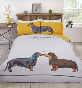 HELLO SAUSAGE Cute Sausage Dog Love Reversible Duvet Cover Set