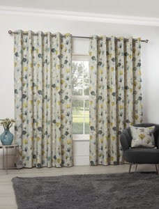 CAMARILLO Floral Modern Flower Lined Ready Made Eyelet/Ring Top Curtains Pair