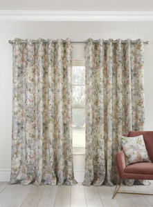 GIVERNY Floral Watercolour Print Lined Ready Made Eyelet/Ring Top Curtains Pair