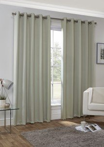 HUDSON Plain Dyed Woven Lined Blockout Ready Made Eyelet/Ring Top Curtains Pair