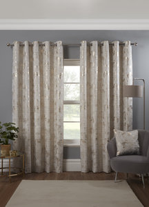 OSAKA Blossom Tree Metallic Lined Ready Made Eyelet/Ring Top Curtains Pair