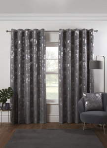 OSAKA Blossom Tree Velvet Touch Metallic Lined Ready Made Eyelet/Ring Top Curtains Pair