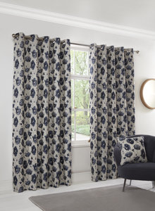 POPPY Flower Jacquard Floral Chenille Lined Ready Made Eyelet/Ring Top Curtains Pair