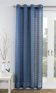 BALI Textured Voile Net Curtain Ready Made Eyelet/Ring Top Single Panel