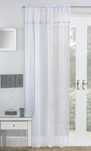 IBIZA Diamante Sparkle Voile Net Curtain Ready Made Slot Top Single Panel