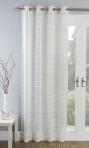 ANTIGUA Striped Textured Voile Net Curtain Ready Made Eyelet/Ring Top Single Panel
