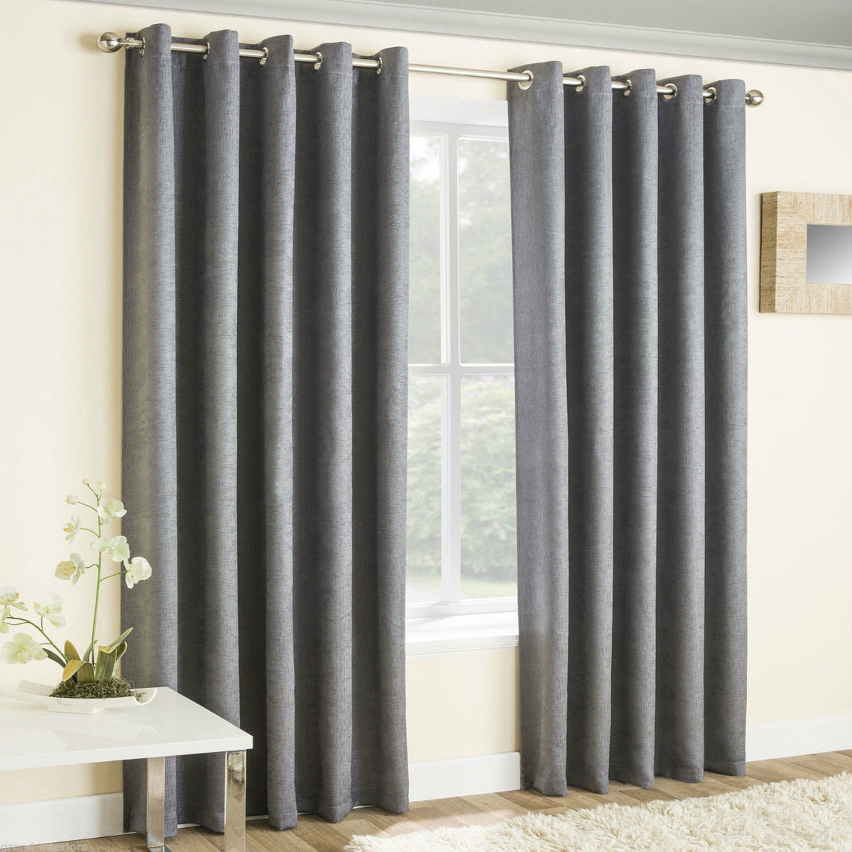 Silver Metallic Shimmer Curtains Blackout Eyelet Ring Top With Free Tie Backs