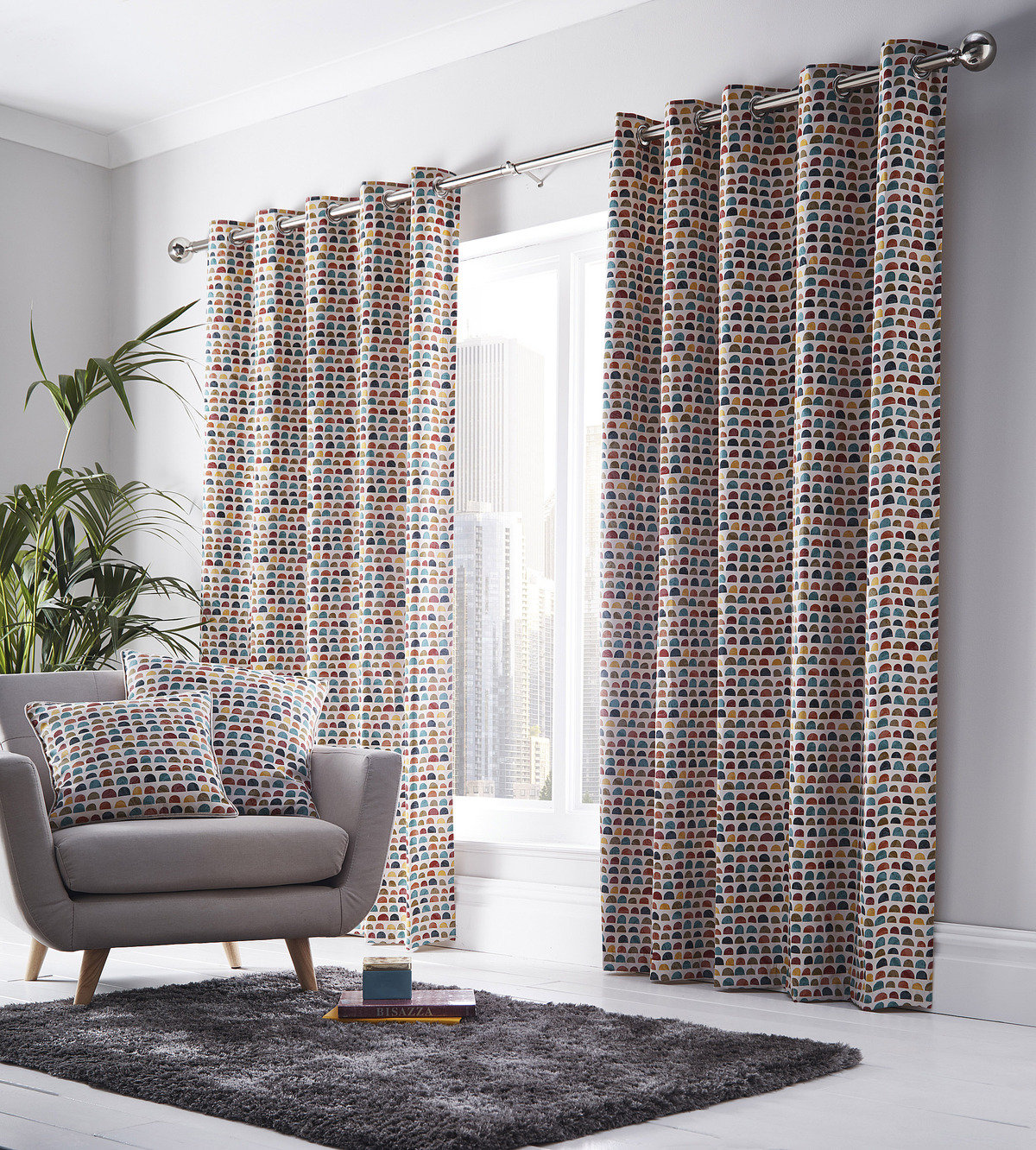 Grey Eyelet Curtains Geometric Check Modern Ready Made Lined Ring Top Pairs