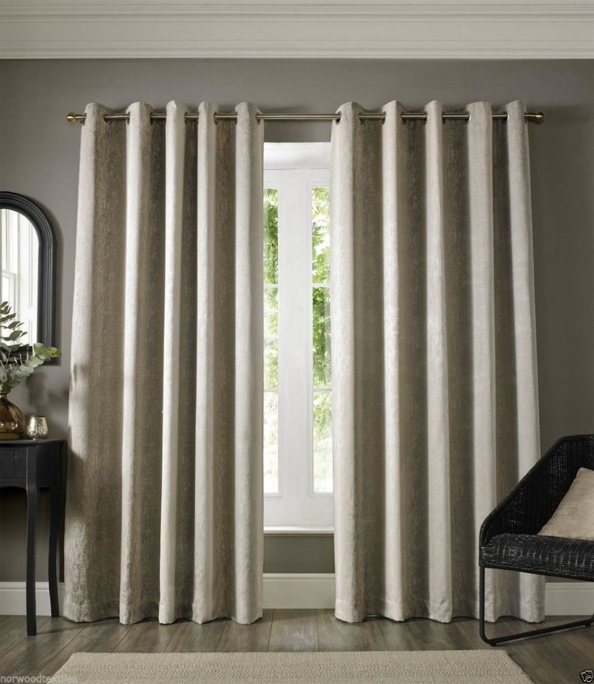 Grey Eyelet Curtains Textured Chenille Ready Made Ring Top Lined Curtain Pairs