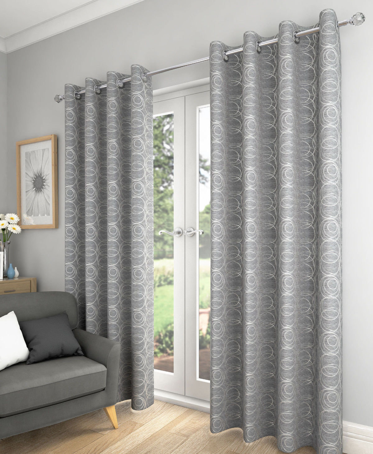 Metallic-Style Swirl Black Silver Lined 66 X 72-168CM X 183CM Ring TOP CURTAINS